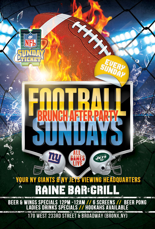 Sunday Football NYC Party at Raine Bar & Grill NYC Lounge Bronx Sports Bar